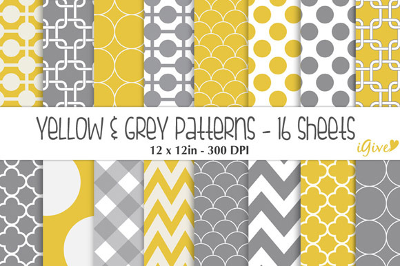 Yellow And Grey Patterns Pack