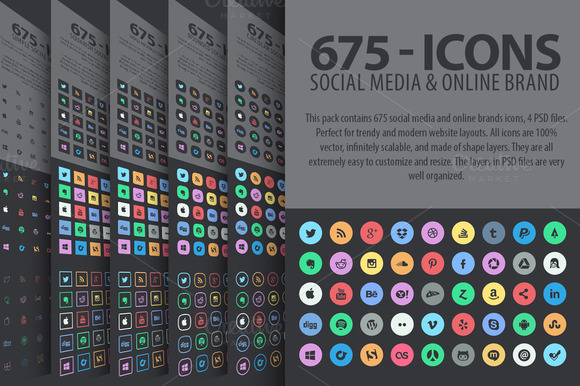 675 Social Media Icons