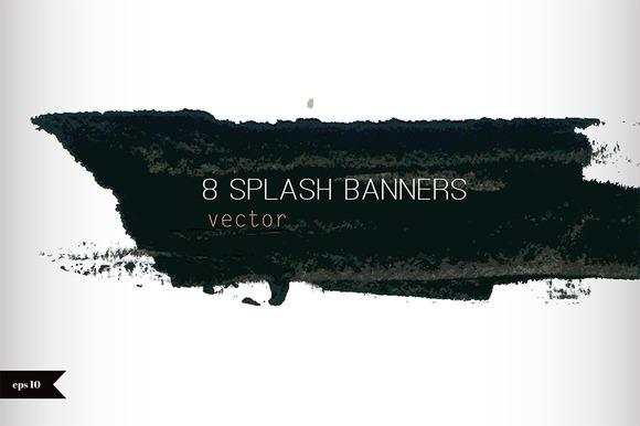 8 Watercolor Splash Banners Set