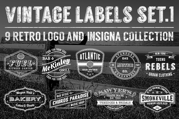Grunge Vintage Labels Set 1