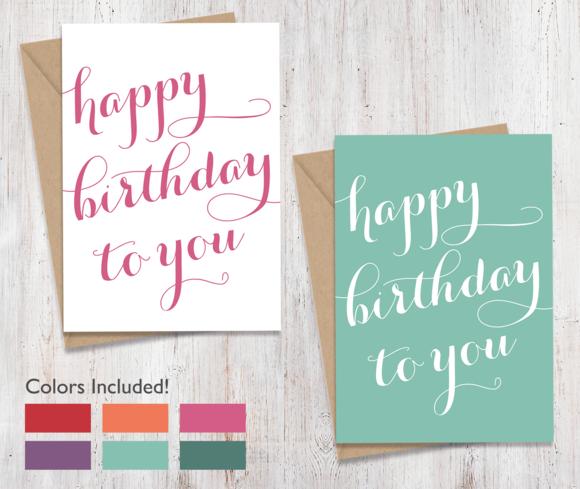 Script Happy Birthday Cards