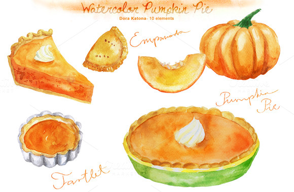Watercolor Pumpkin Pie