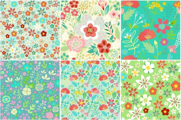 Floral Set- Seamless Patterns