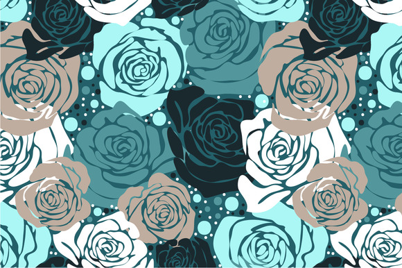 Seamless Pattern Green Roses