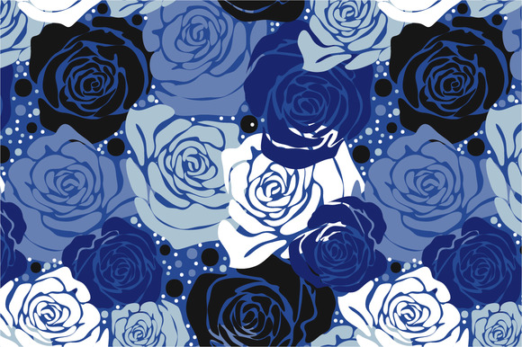 Seamless Pattern Blue Roses