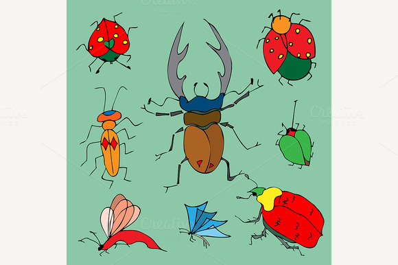 Set Of Colorful Bugs