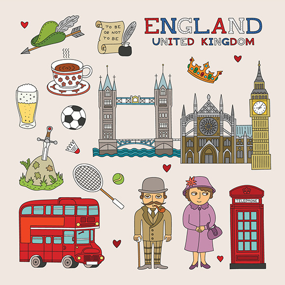 UK Travel Doodle Art