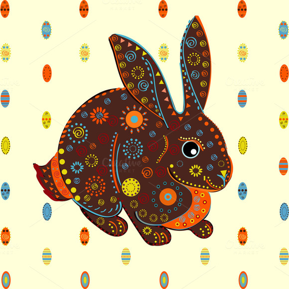 Easter Bunny Eggs Background Vector