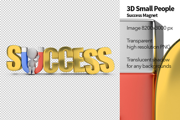 3D Small People Success Magnet