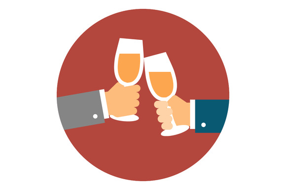 Hands With Champagne Glasses
