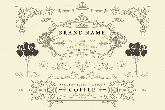 Vintage Design Borders Elements