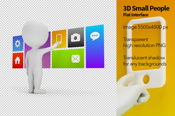 3D Small People Flat Interface