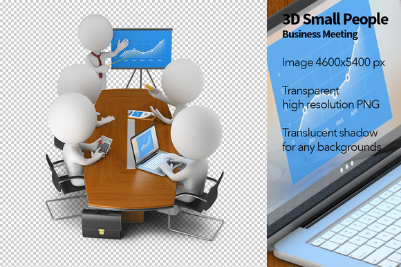 3D Small People Business Meeting