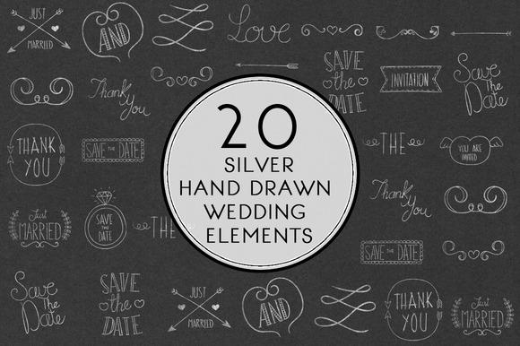 Silver Hand Drawn Wedding Elements
