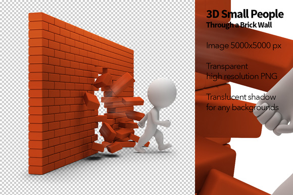 3D Small People Brick Wall