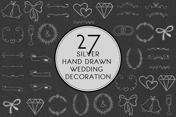 Silver Hand Drawn Wedding Decoration