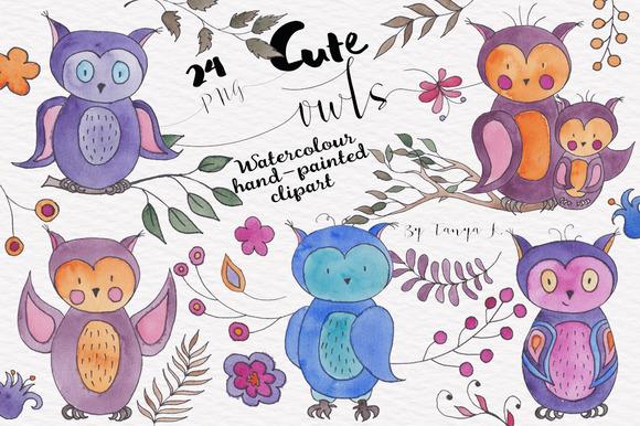 Owls Watercolour Clipart