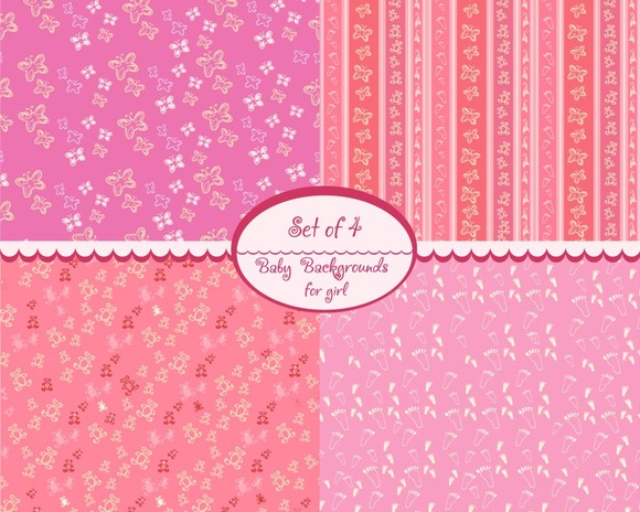 Baby Seamless Pattern For Girl Set