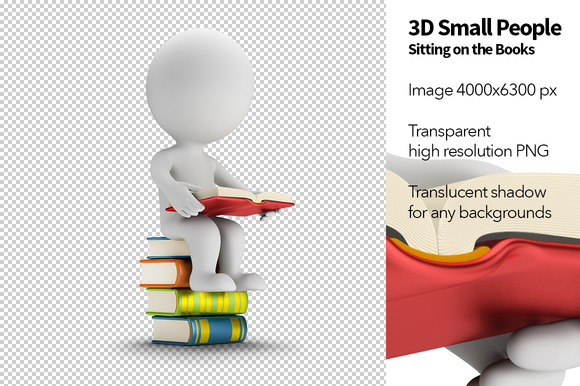 3D Small People Books