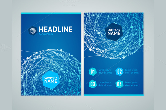 Flyer With Abstract Sphere Vector