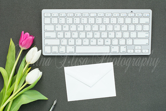 Styled Card Mockup Black Desk Tulip
