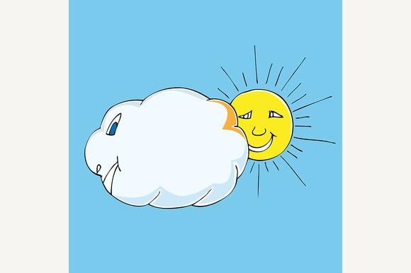 Picture Of Cute Sun And Cloud » Designtube - Creative ...