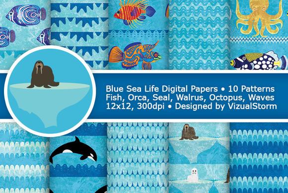 Blue Sea Life Digital Paper