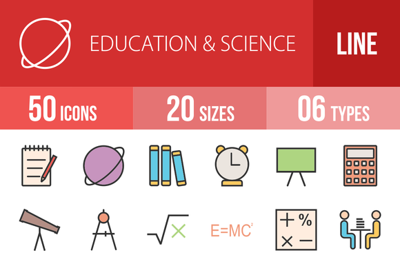 50 Education Filled Line Icons