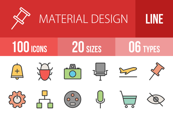 100 Material Design Line Filled Icon