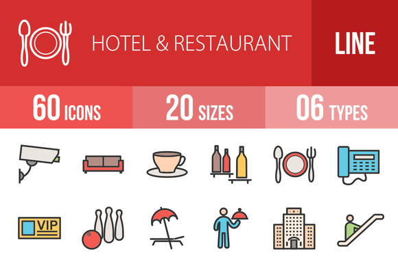 60 Hotel Filled Line Icons