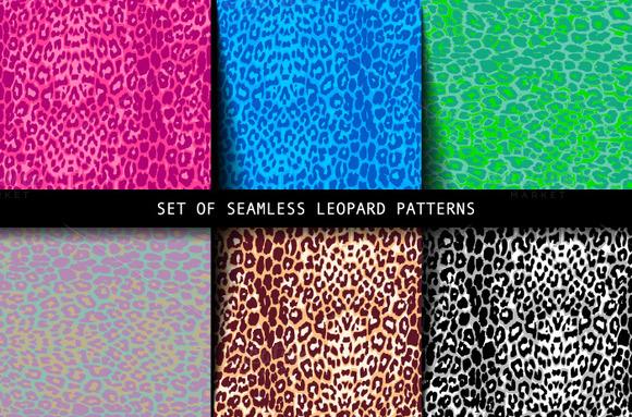 Set Of Leopard Seamless Patterns