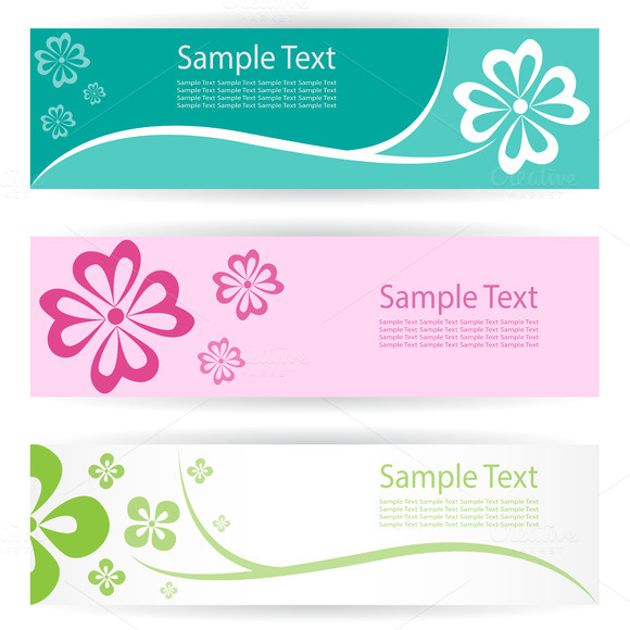 Vector Image Of An Flower Banners