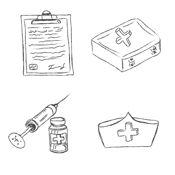 Medical Objects Icons Sketch