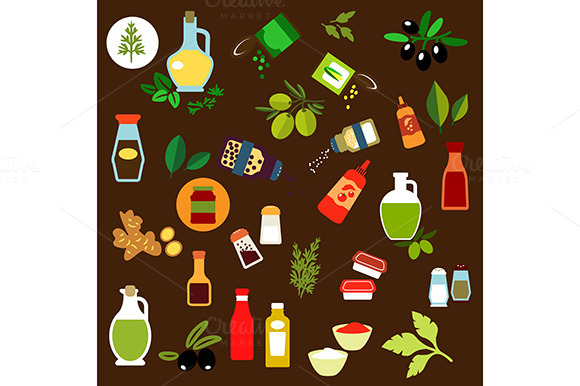 Vegetables And Herbs Flat Icons