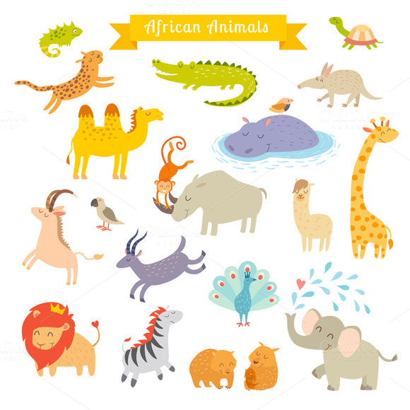 African Animals Vector Illustration
