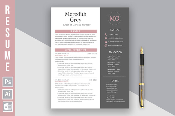 Resume Template Meredith Grey