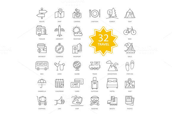 Set Of Travel Items Icons