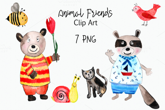 Watercolor Animal Friends Clip Art