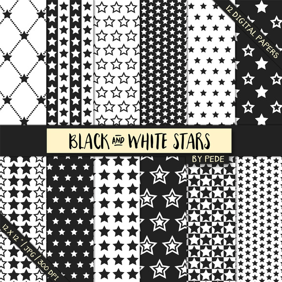Black And White Stars Digital Paper