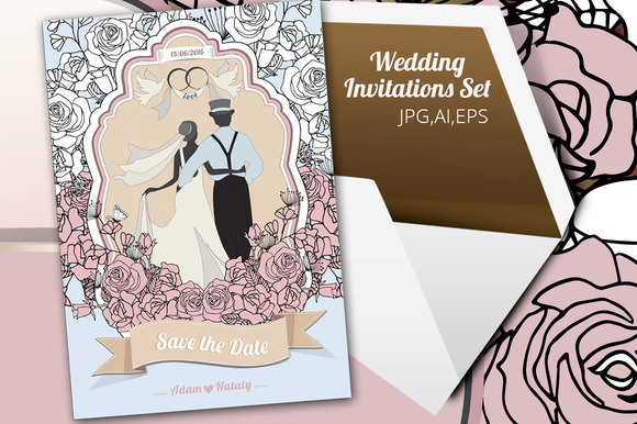 Wedding Invetition Set Vintage