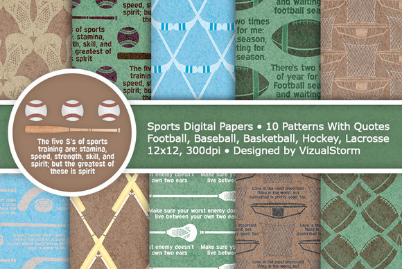 Green And Brown Sports Digital Paper
