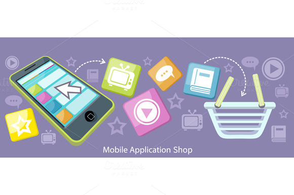 Mobile Application Shop Flat Design