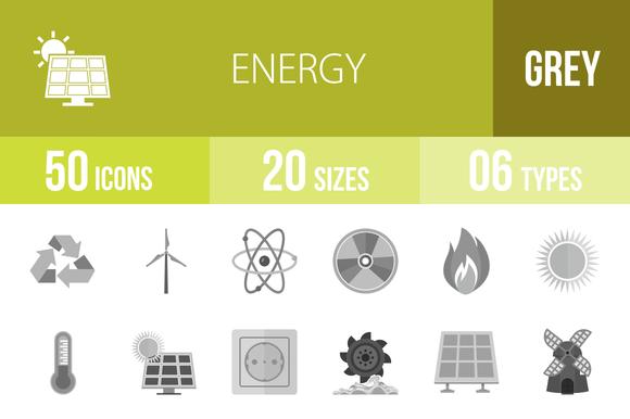 50 Energy Greyscale Icons
