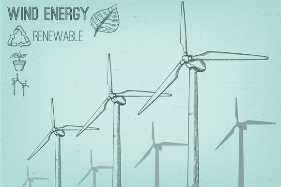Wind Turbine Hand Drawn Illustration