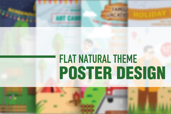 Flat Nature Theme Poster Designs