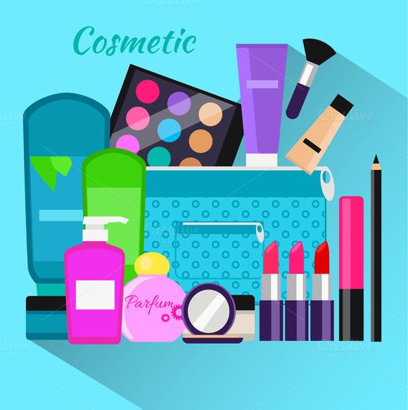 Cosmetic Set Flat Design Object