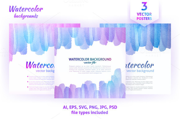 Watercolor Vector Abstract Posters