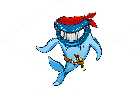 Smiling Blue Whale Pirate