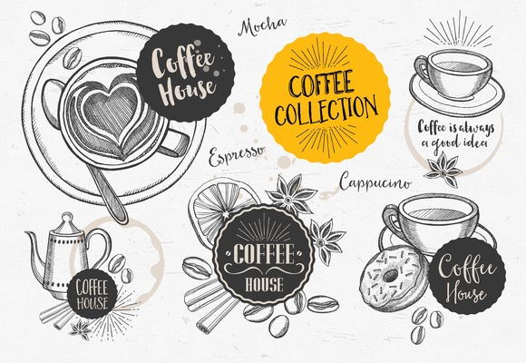 Coffee Doodle Elements