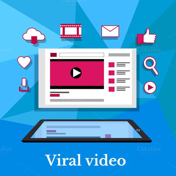 Viral Video Banner Flat Design